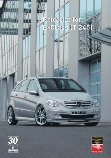 Pricelist for B-Class (T 245) - EC exclusive carparts