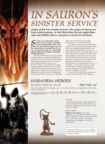 In Sauron's Sinster Service - Games Workshop