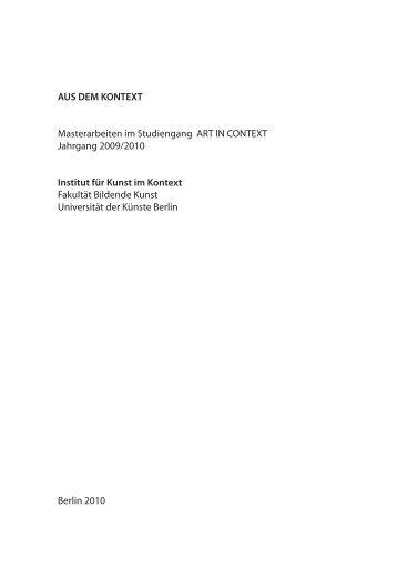 AUS DEM KONTEXT Masterarbeiten im Studiengang ART IN ...