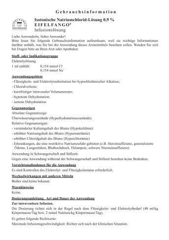 Isotonische Natriumchlorid Infusionslösungen - EIFELFANGO