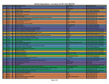 Student Organizations - LA Liaison List 2011 ... - Drexel University