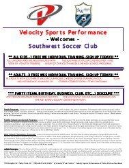 Velocity Spor ts Per for mance Southwest Soccer Club - NGIN