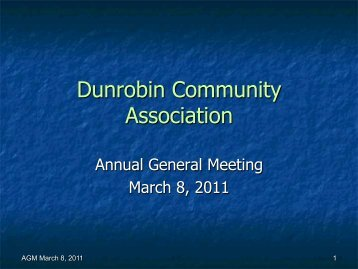 AGM Presentation - Dunrobin Community Association