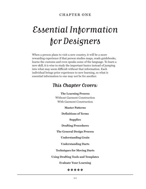 To Download The First Chapter Pattern Drafting For Fit And Fashion
