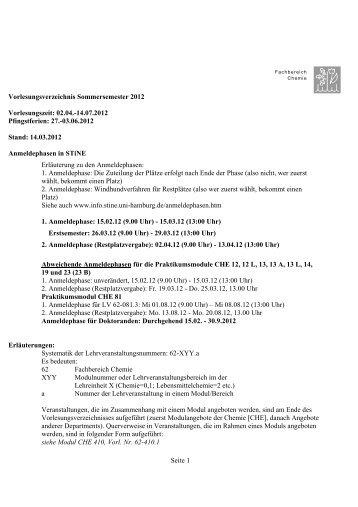 Seite 1 Vorlesungsverzeichnis Sommersemester 2012 ... - Chemie