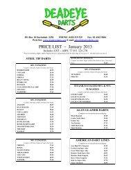 PRICE LIST – January 2013 - Deadeye Darts
