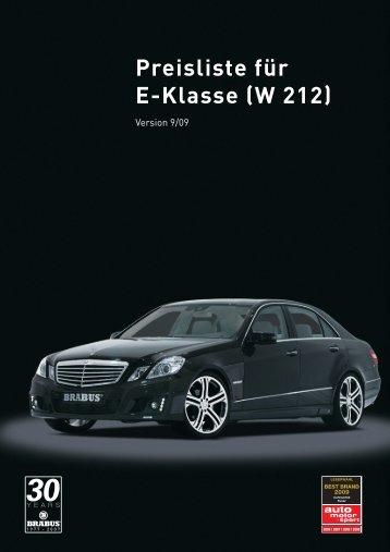 Preisliste für E-Klasse (W 212)