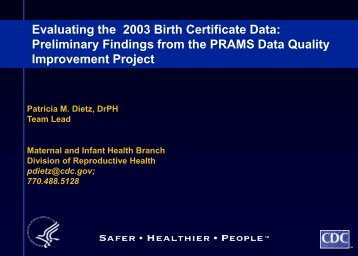 Evaluating the 2003 Birth Certificate Data - Centers for Disease ...