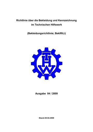 Richtlinie über die Bekleidung und Kennzeichnung im Technischen ...