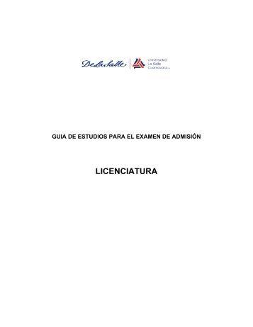 guia de estudios licenciatura 2013