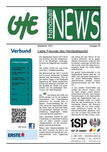 UHE Handball News #18(09/2012) - UHC Eggenburg