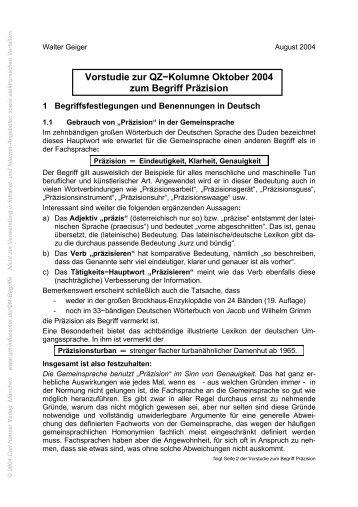 Vorstudie zur QZ−Kolumne Oktober 2004 zum Begriff ... - QZ-online.de