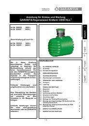 Anleitung für Einbau und Wartung GARANTIA Regenwasser-Erdtank