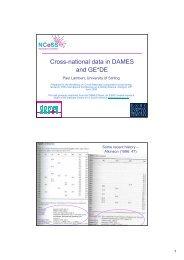 Cross-national data in DAMES and GE*DE - DAMES Node