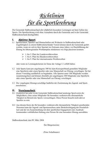 Richtlinien für die Sportlerehrung - Gemeinde Südbrookmerland