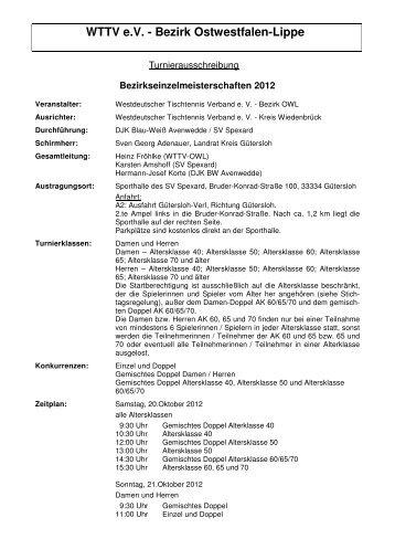 Ausschreibung - WTTV Tischtennisbezirk Ostwestfalen-Lippe
