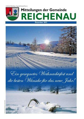 Gemeindezeitung Dezember 2012 - in der Gemeinde Reichenau