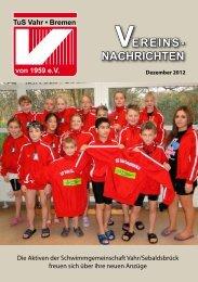 Vereins-Nachrichten Dezember 2012 - beim TuS Vahr-Bremen eV