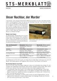 STS-Merkblatt: Marder im Wohngebiet - Schweizer Tierschutz STS