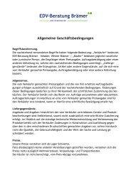 Allgemeine Geschäftsbedingungen - EDV-Beratung Brämer