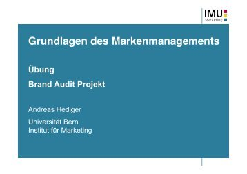 Brand Exploratory - IMU - Marketing - Universität Bern