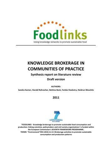 knowledge brokerage in communities of practice - Foodlinks