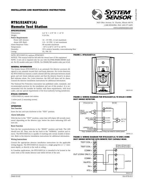 smoke detector wire diagram rts151key a  remote test station system sensor  rts151key a  remote test station