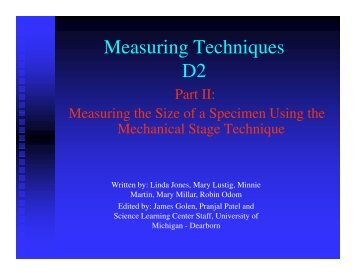 Measuring Techniques D2 - University of Michigan
