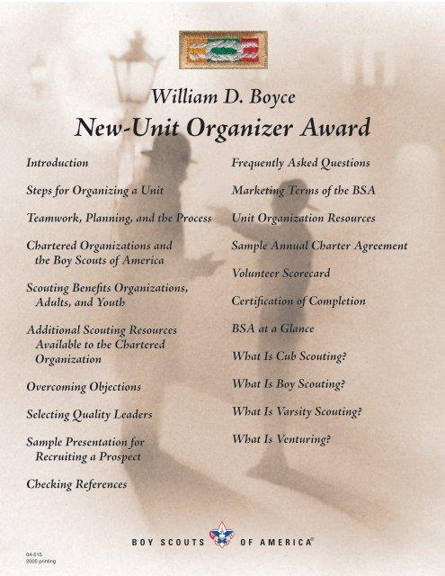 William D Boyce New Unit Organizer Award Boy Scouts Of America