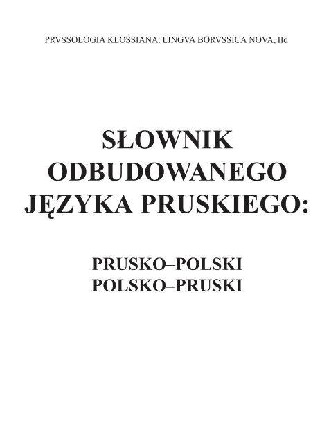 Słownik Odbudowanego Języka Pruskiego Towarzystwo Naukowe