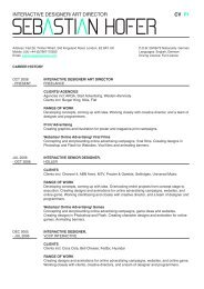 INTERAcTIVE DEsIGNER/ ART DIREcTOR Cv P1 - Sebastian Hofer