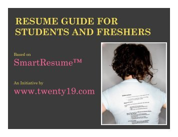 RESUME GUIDE FOR STUDENTS AND ... - Twenty19.com