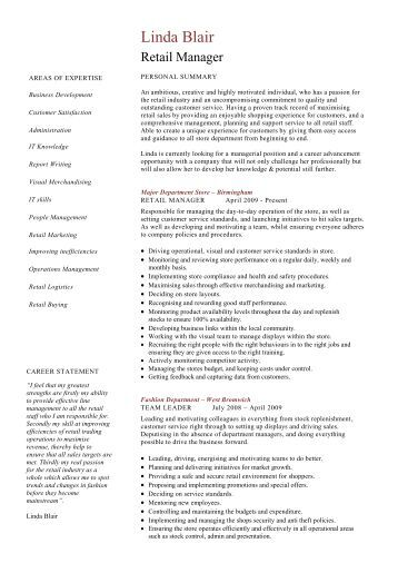 retail manager cv template resume dayjob - Template Of A Resume