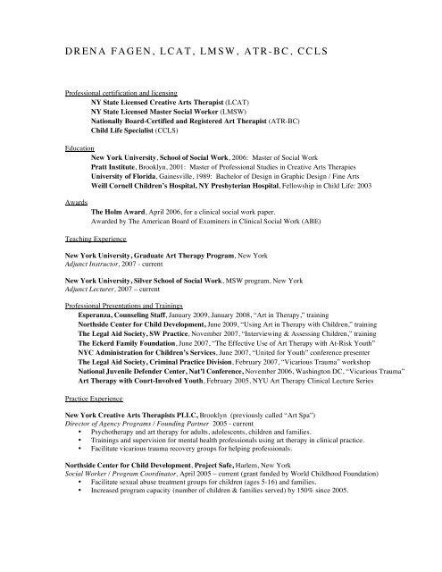 C2h  Drena Fegan CV - NYU Steinhardt School of Culture