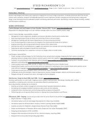 STEED RICHARDSON'S CV - Design by Steed