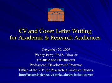 CV And Cover Letter Writing For Academic - University of Virginia