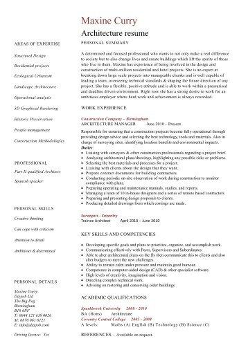Architecture Resume Template, CV Example, Job Description   Dayjob