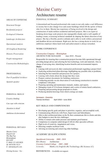 Architecture resume template, CV example, job description - Dayjob