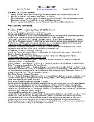 Phil Morettini Resume - PJM Consulting