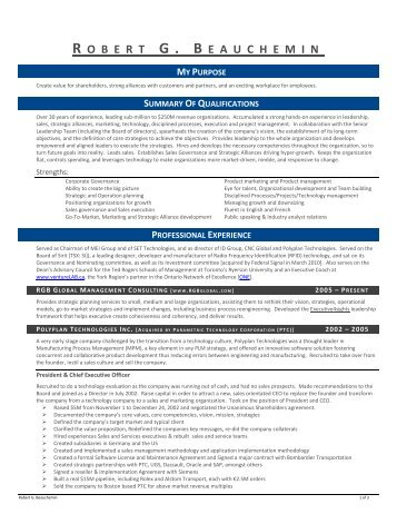 Robert Beauchemin CV - RGB Global | Management Consulting