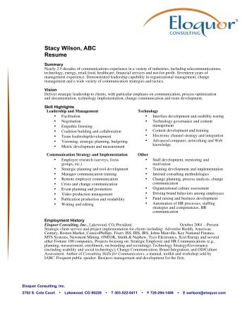 Stacy Wilson, ABC Resume - Eloquor Consulting Inc.