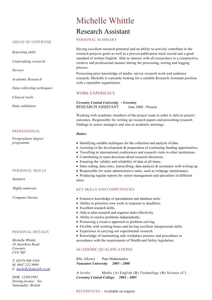 psychology research assistant resumes