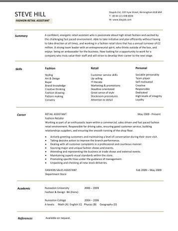 Architect resume template, CV example, job description - Dayjob Fashion Retail CV template - Dayjob