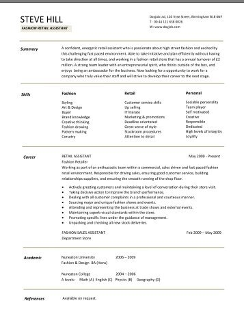 Retail manager cv template resume dayjob fashion retail cv template dayjob pronofoot35fo Gallery