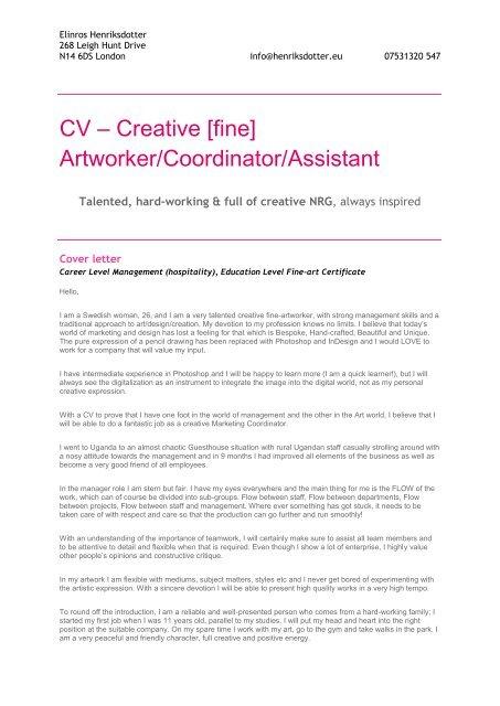 CV – Creative [fine] Artworker/Coordinator/Assistant ...