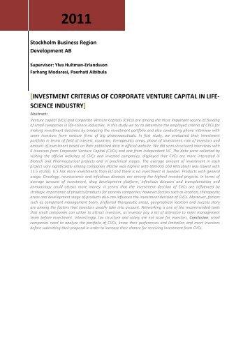 investment criterias of corporate venture capital in life ... - Mynewsdesk