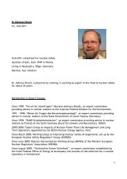 1 Dr Helmut Hirsch CV, mid-2011 Scientific consultant for nuclear ...