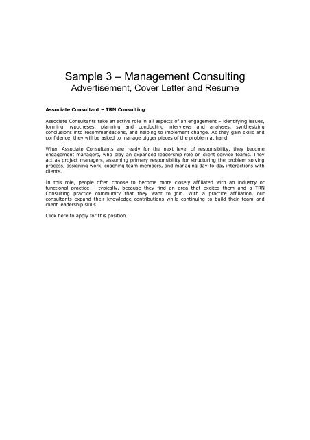 Sample 3 – Management Consulting - Careers Online - University of .