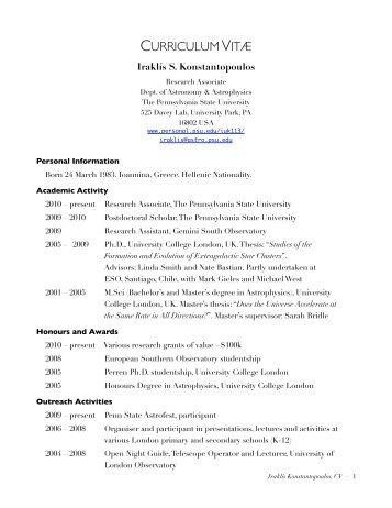curriculumvitæ - Penn State Personal Web Server - Pennsylvania ...