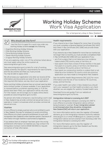 INZ 1085 - Immigration New Zealand